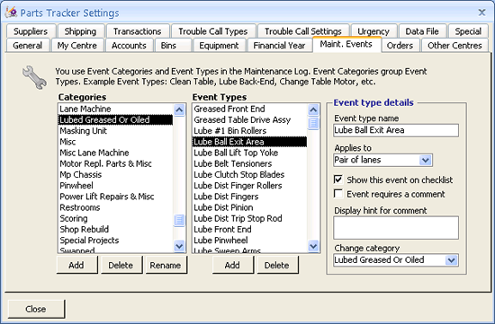 Setting screen showing maintenance event cantegories and types